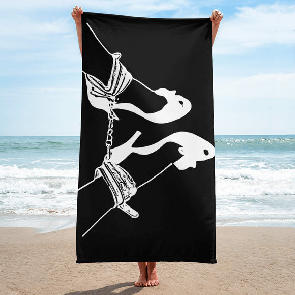 Sexy Bath, Beach Towel, sublimated - Forever together, BDSM artwork