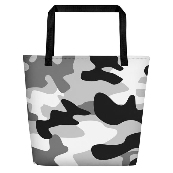 All-over-print Beach Bag - Black and white army camo pattern