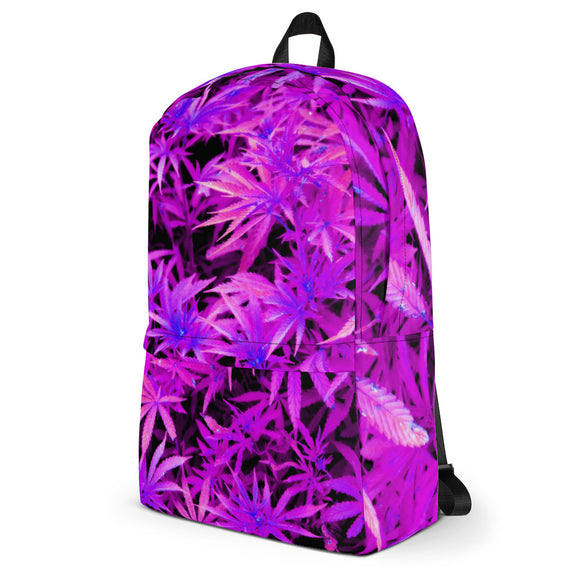 Stylish all-over-print unisex backpack - 420 purple colors, ganja