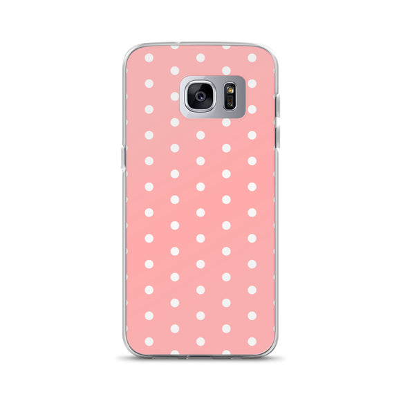 Samsung Galaxy Solid Case - Salmon pink polka dot, retro style