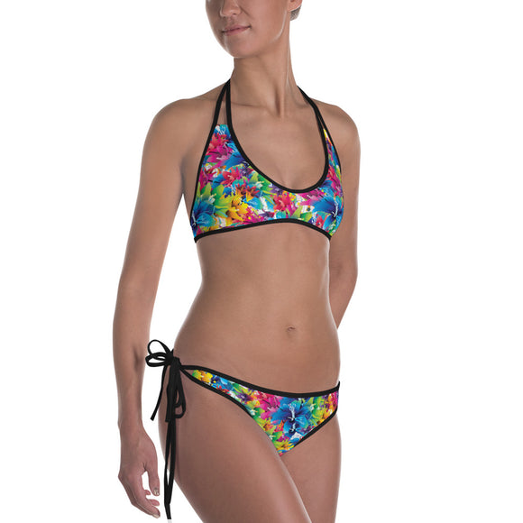 Sexy All-over-print bikini swim suit set - Vector flowers