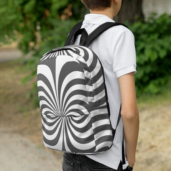 Stylish all-over-print unisex backpack - Silver and white spirals