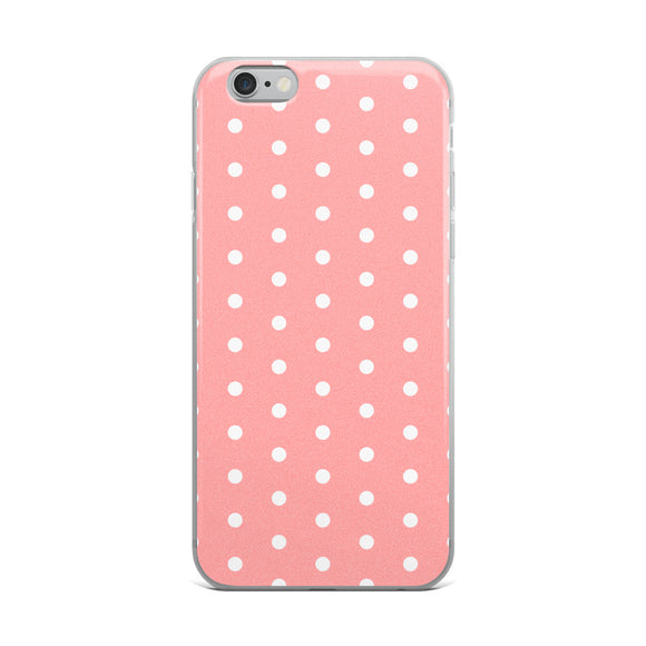 Apple iPhone Solid Case - Salmon pink polka dot, retro style