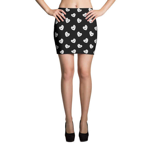 Sublimation sexy cut and sew Mini Skirt - Black and white hand drawn hearts pattern