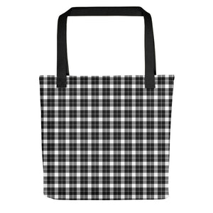 All-over-print Tote bag - Classic style plaid pattern, chequered scottish tartan, retro B&W