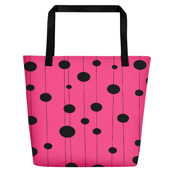 All-over-print Beach Bag - Pastel deep pink and black dots on strings pattern