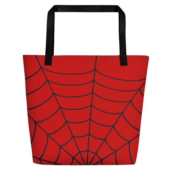 All-over-print Beach Bag - Red spider net pattern