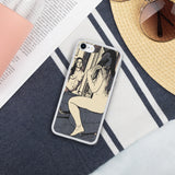 Liquid Glitter Phone Case - Sexy morning, nude girl at mirror