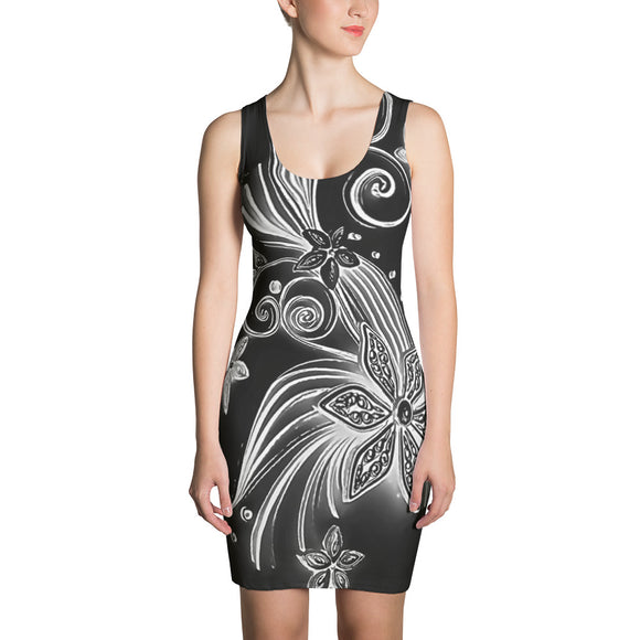 Sublimation Cut & Sew Dress - Black and white floral ornament pattern