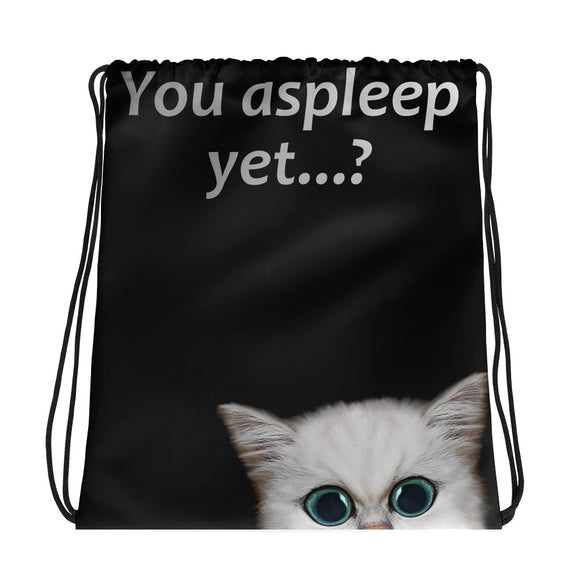 All-over-print Drawstring bag - You asleep yet? Cute, curious kitten