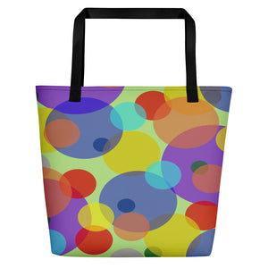 All-over-print Beach Bag - Pastel circles, ovals pattern