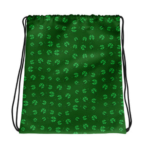All-over-print Drawstring bag - Small 4-leaf clovers pattern, green