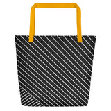 All-over-print Beach Bag - Geometric pattern line art, black and white
