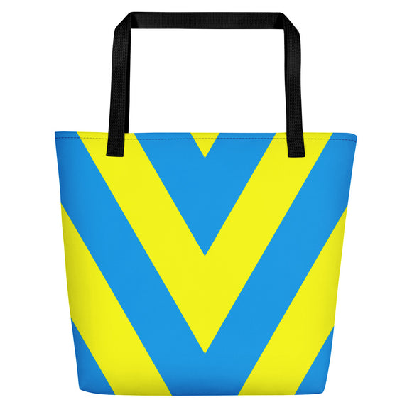 All-over-print Beach Bag - yellow and light blue V stripes, geometric pattern