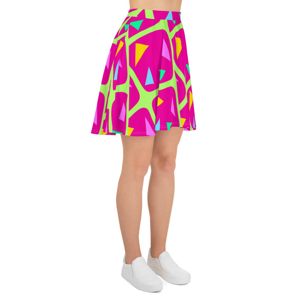 Women's Skater Mini Skirt - 1960s style geometric pattern, purple