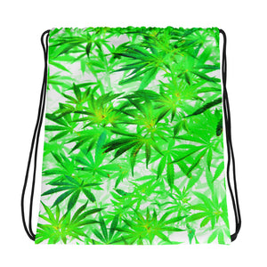 All-over-print Drawstring bag - 420 ganja, pot plant pattern