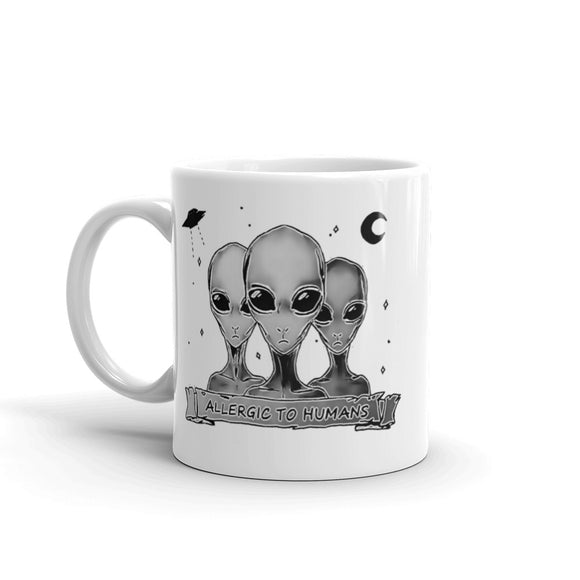Funny White Ceramic Coffee Mug - Aliens, allergic to Humans