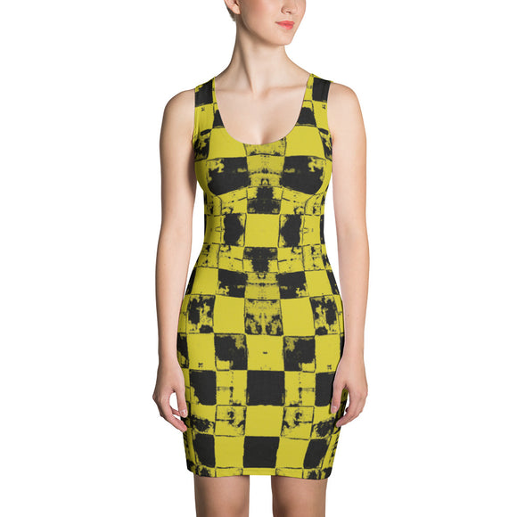 Sublimation Cut & Sew Dress - Grunge tiles pattern, chequered blocks yellow dress
