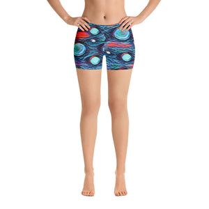 All-over-print Sport Shorts - Blue abstract bubbles pattern