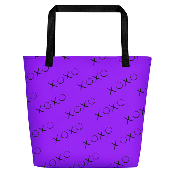 All-over-print Beach Bag - Purple XOXO pattern