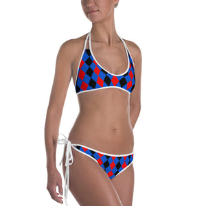 Sexy All-over-print bikini swim suit set - Blue, red, black rhombus