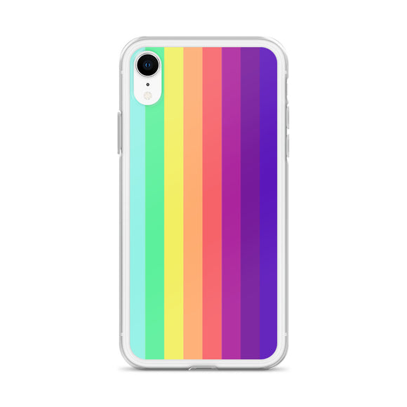 Apple iPhone Solid Case - Pastel rainbow stripes pattern