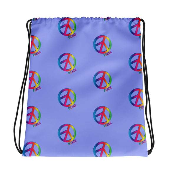All-over-print Drawstring bag - Peace and love in blue