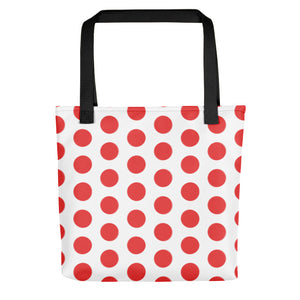 All-over-print Tote bag - Classic style, large red polka dots pattern on white, vintage design