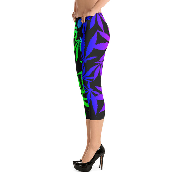 420 rainbow colors all-over-print Capri Leggings -  colorful ganja pattern