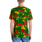 Cut and Sew All-over-print Men's T-shirt - Rasta pattern, ganja leafs, jamaican style