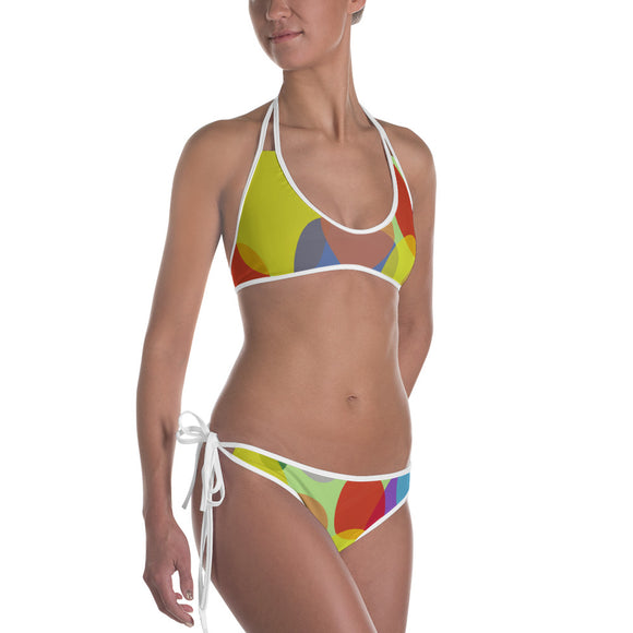 Sexy All-over-print bikini swim suit set - pastel ovals geometric pattern