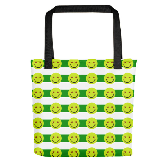 All-over-print Tote bag - Happy emoji faces pattern, green lines