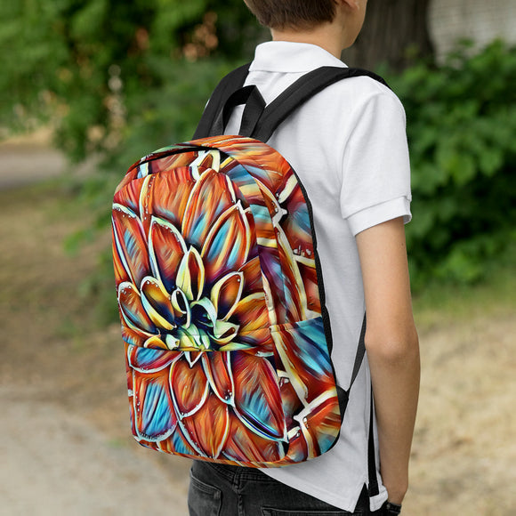 Stylish all-over-print unisex backpack - Colorful Dahlia flower