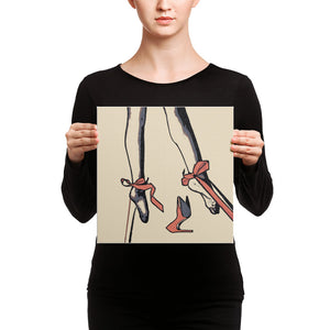 Erotic Art wrapped square canvas print - Restrained elegance, tied submissive
