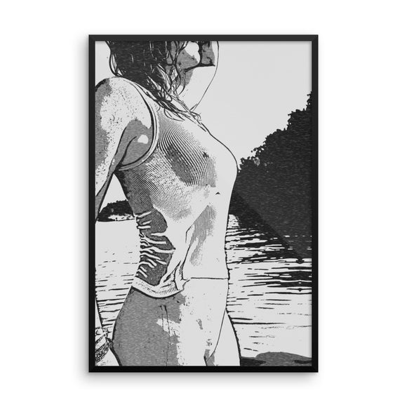 Adult Art Premium Luster Photo Paper Framed Poster - Wet shirt only