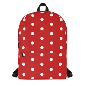 Stylish all-over-print unisex backpack - Retro style white and red polka dot