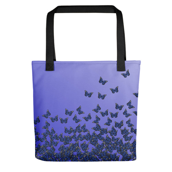 All-over-print Tote bag - Blue butterflies pattern, two tone gradient