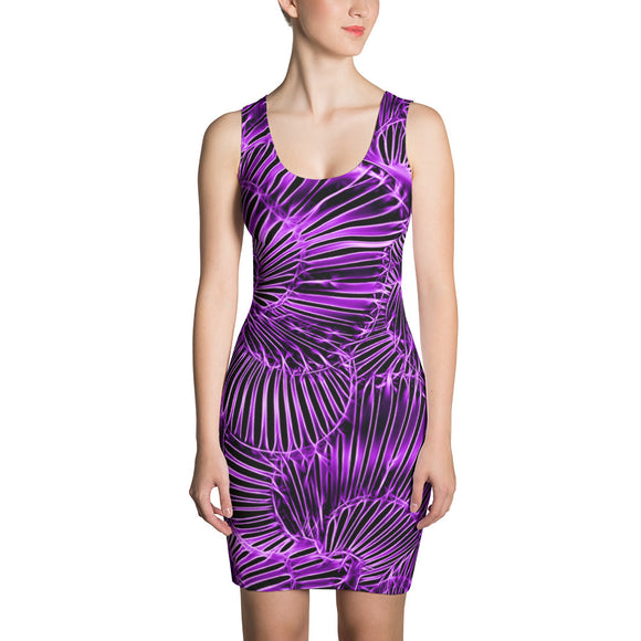Sublimation Cut & Sew Dress - Purple asymetric curves pattern