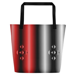 All-over-print Beach Bag - Red, and silver gradient with black tones, geometric pattern