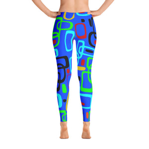 All-over-print full Leggings - 1950s nostalgy, abstract geometric 2