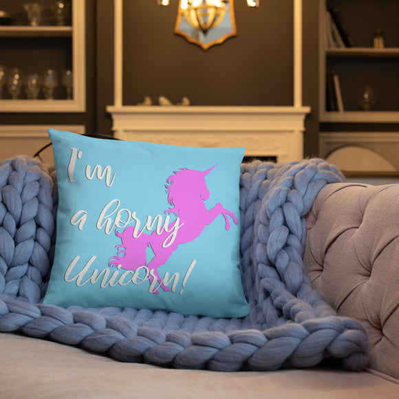 Stylish Pillows with insert, home decor - I'm a horny Unicorn! Pink and blue