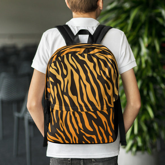 Stylish all-over-print unisex backpack - Classic tiger stripes
