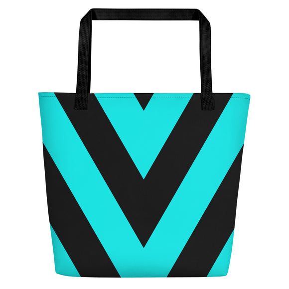 All-over-print Beach Bag - Black and sea blue V stripes, geometric pattern
