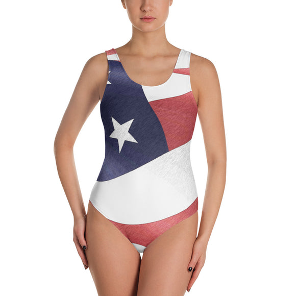 All-over-print One-Piece Swimsuit - Sexy in patriotic way