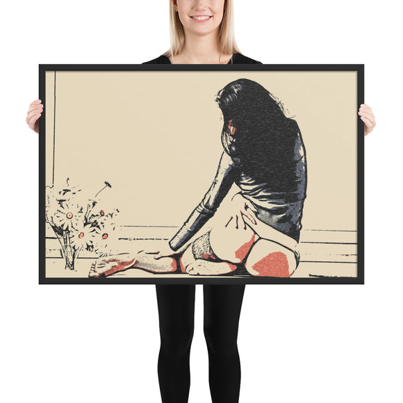 Adult Art Framed Poster, Premium Luster Photo Paper - Girl with Flowers
