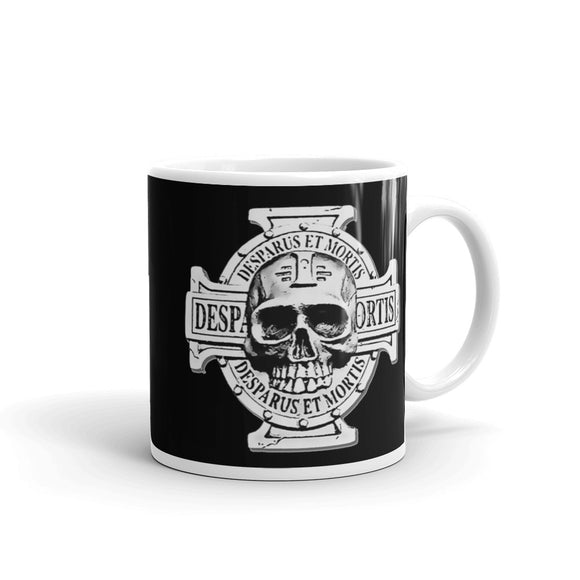 Desparus Et Mortis cross and skull black coffee mug, RTS gaming themed