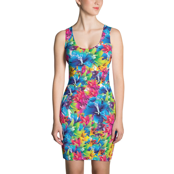 Floral pattern Sublimation Cut & Sew Dress, stylish flowers themed clothing