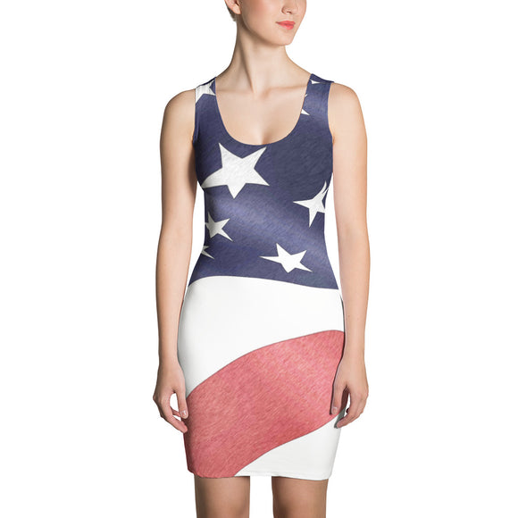 Sublimation Cut & Sew Dress - United States Patriotic, US flag themed