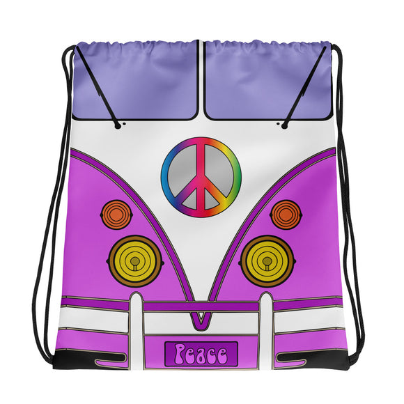 All-over-print Drawstring bag - Pink love wagon, hippie classic