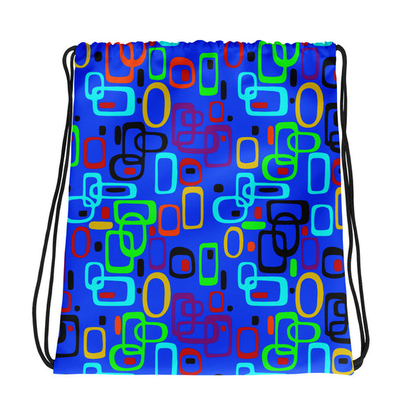 All-over-print Drawstring Bag - 1950s nostalgy, retro style, blue color